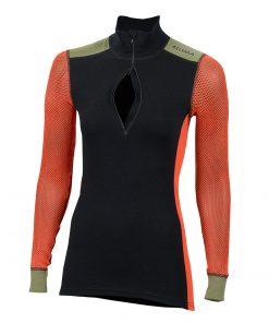 103278-142 Aclima WoolNet Hybrid ženska majica dugih rukava sa zipom Mock Neck front open zip