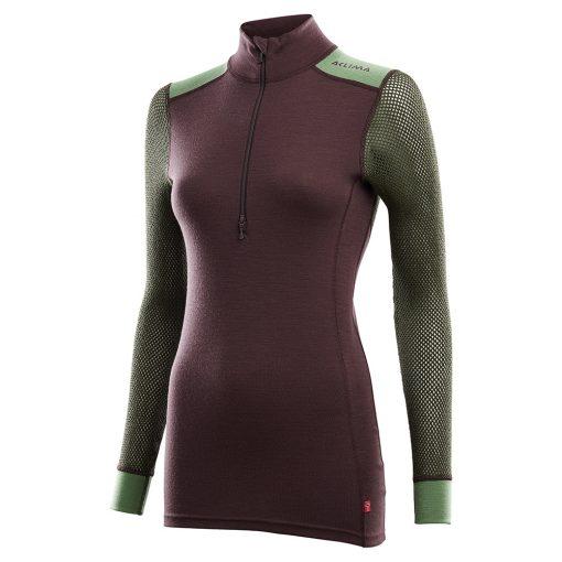 103278-248 Aclima WoolNet Hybrid ženska majica dugih rukava sa zipom Mock Neck front 1