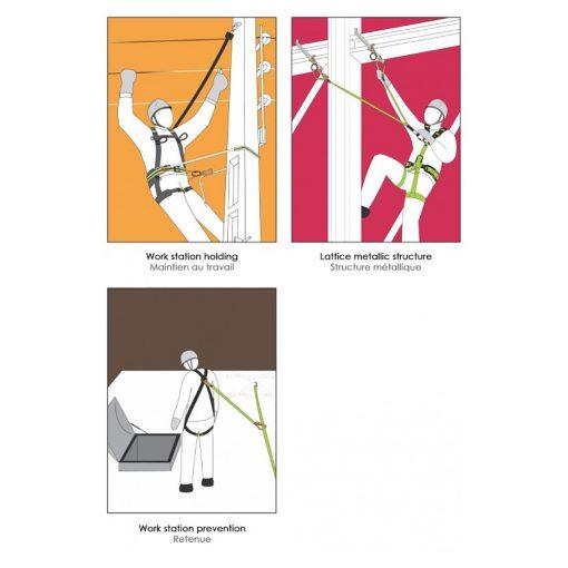 Pojas za zaštitu od pada i pozicioniranje. Dvije točke vezanja za zaštitu od pada, jedan D-ring na leđnom dijelu te dvije omče (zajedno čine točku vezanja) na prsnom dijelu za ukopčavanje karabinera. Dva bočna D-ringa za pozicioniranje. Praktičan i lagan, potpuno podesiv.